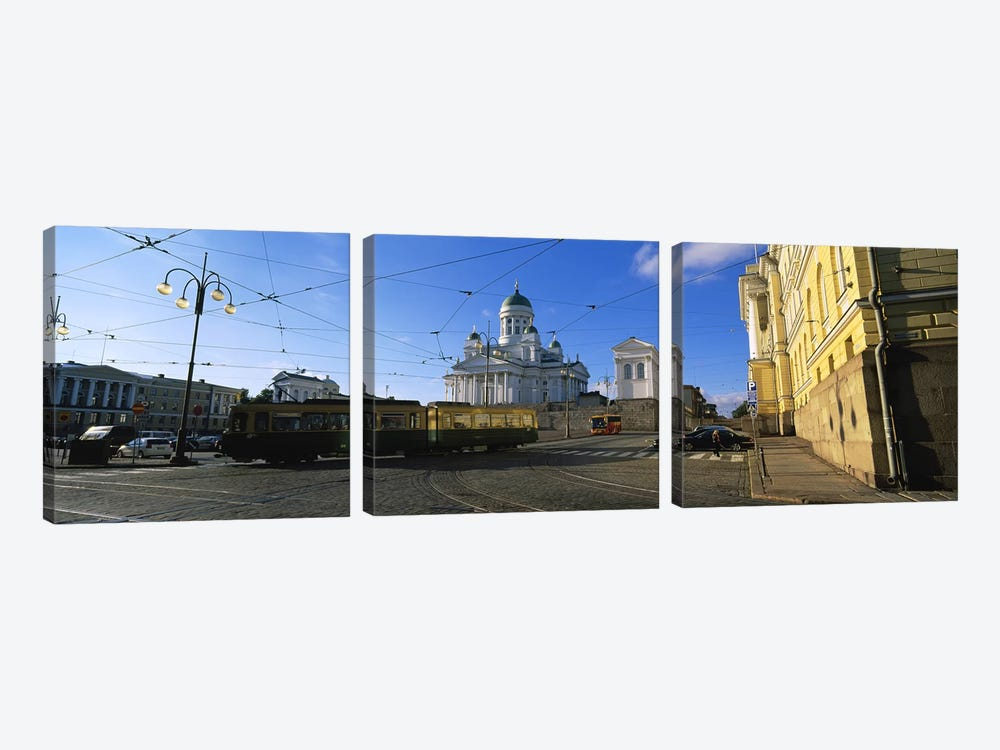 Tram Moving On A Road, Senate Square, Helsinki, Finland by Panoramic Images 3-piece Art Print
