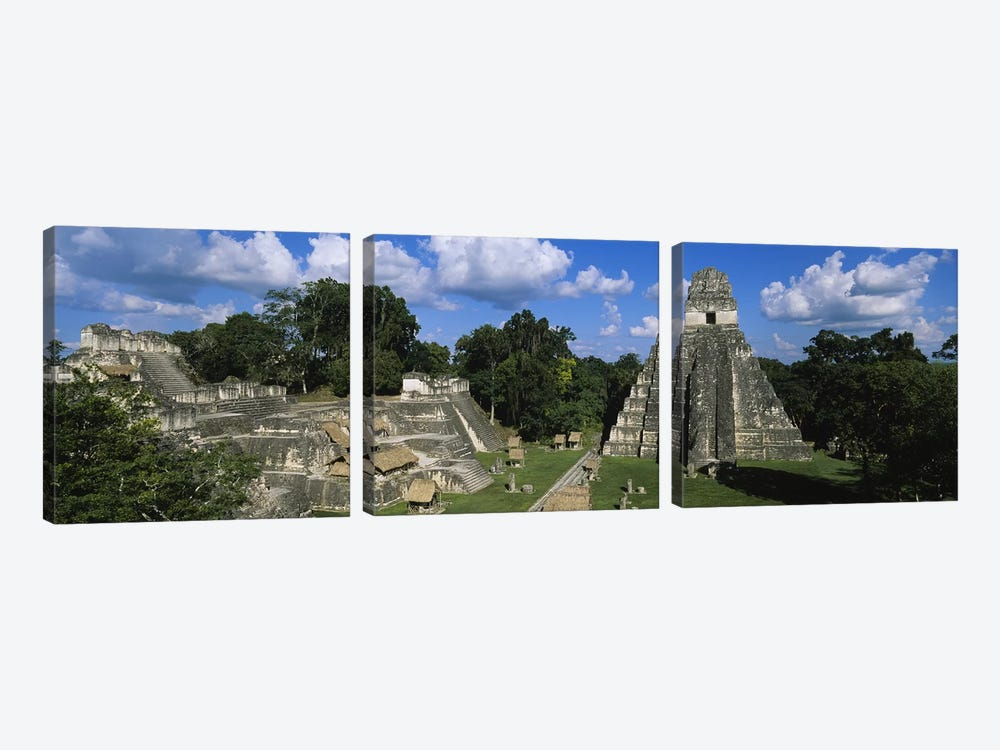 Ancient Ruins Of Yax Mutal (Tikal), El Peten, Guatemala 3-piece Canvas Print