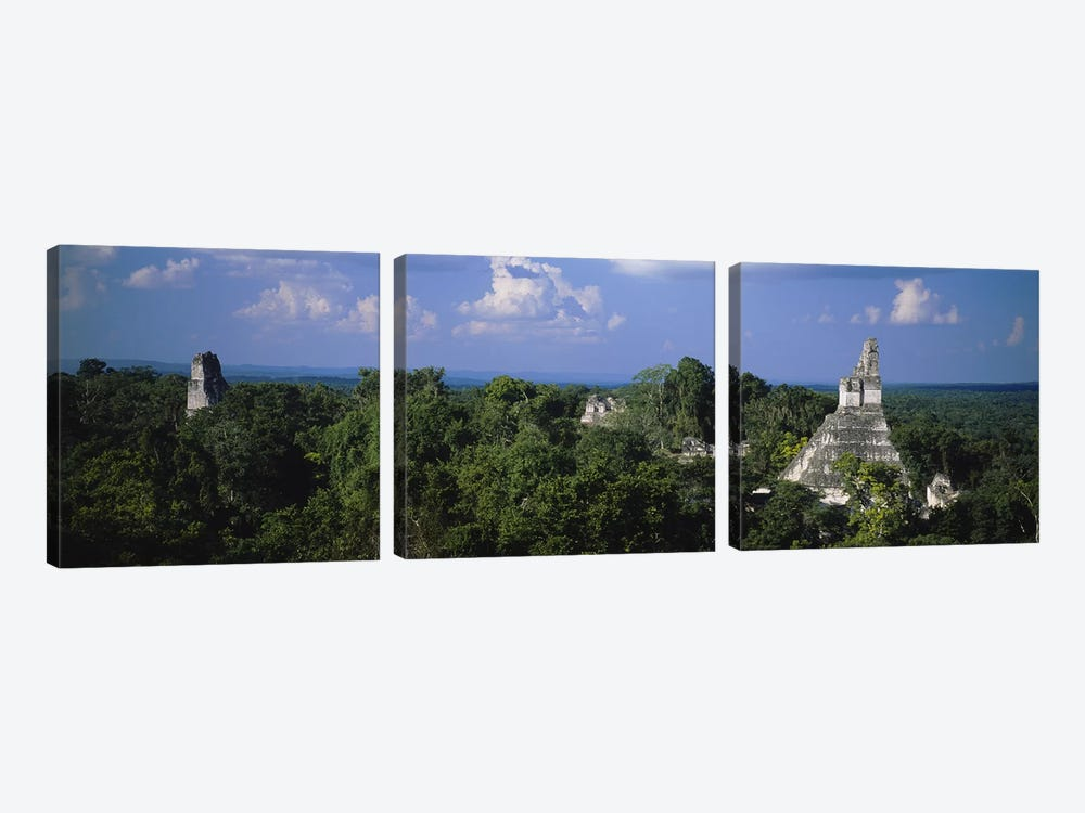 High-Angle View Of Temple I (Temple Of The Great Jaguar), Tikal, El Peten, Guatemala by Panoramic Images 3-piece Canvas Wall Art