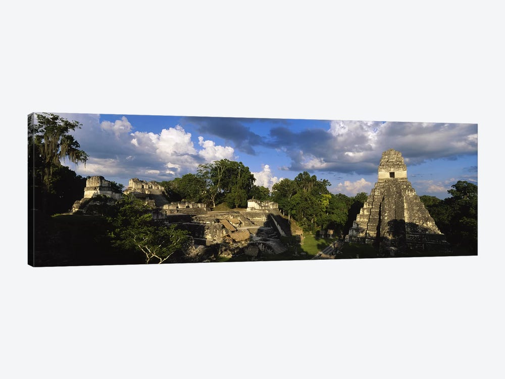 Shadows Over The Ancient Ruins Of Yax Mutal (Tikal), El Peten, Guatemala by Panoramic Images 1-piece Canvas Print