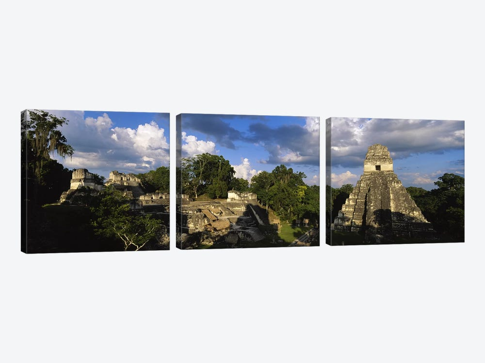 Shadows Over The Ancient Ruins Of Yax Mutal (Tikal), El Peten, Guatemala by Panoramic Images 3-piece Art Print