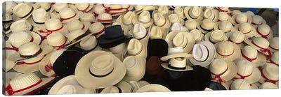 High Angle View Of Hats In A Market Stall, San Francisco El Alto, Guatemala Canvas Print #PIM4809