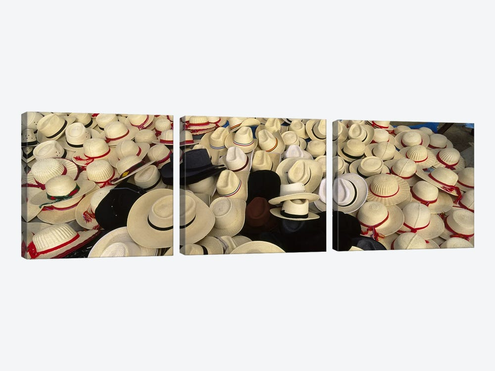 High Angle View Of Hats In A Market Stall, San Francisco El Alto, Guatemala by Panoramic Images 3-piece Canvas Artwork