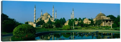 Garden in front of a mosque, Blue Mosque, Istanbul, Turkey Canvas Art Print