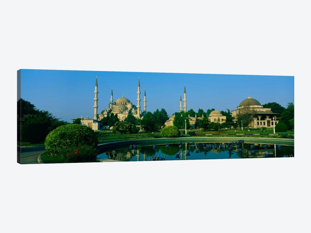 Garden in front of a mosque, Blue Mosque, Istanbul, Turkey by Panoramic Images 1-piece Canvas Art Print