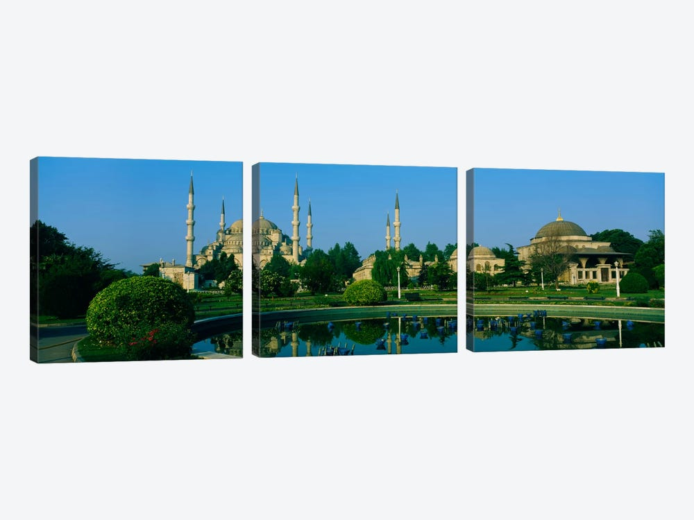 Garden in front of a mosque, Blue Mosque, Istanbul, Turkey by Panoramic Images 3-piece Canvas Art Print