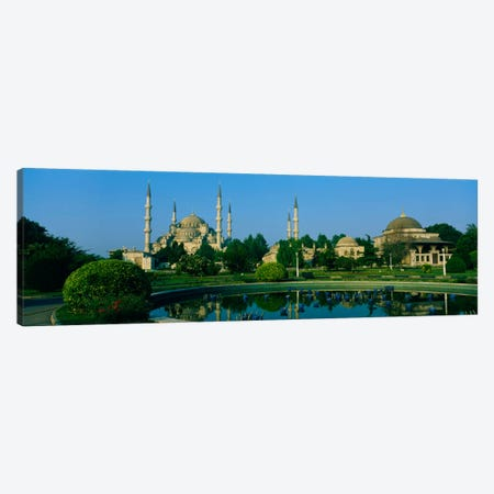 Garden in front of a mosque, Blue Mosque, Istanbul, Turkey Canvas Print #PIM480} by Panoramic Images Canvas Wall Art
