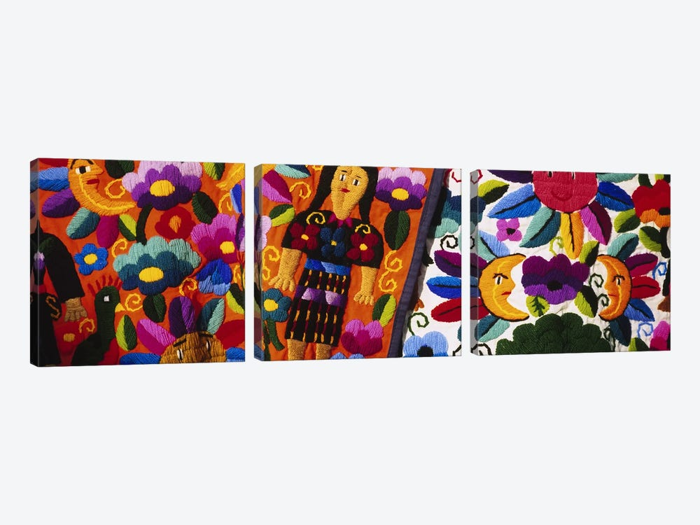 Close-Up Of Traditional Textiles, Guatemala by Panoramic Images 3-piece Canvas Art