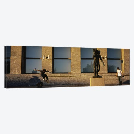 Skateboarders In Front Of Radhuset (City Hall), Oslo, Ostlandet, Norway Canvas Print #PIM4812} by Panoramic Images Canvas Wall Art