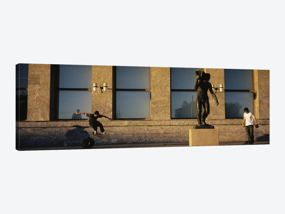 Skateboarders In Front Of Radhuset (City Hall), Oslo, Ostlandet, Norway by Panoramic Images 1-piece Canvas Artwork