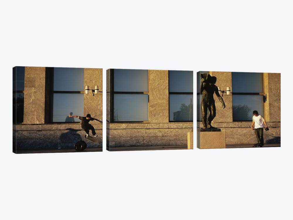 Skateboarders In Front Of Radhuset (City Hall), Oslo, Ostlandet, Norway by Panoramic Images 3-piece Canvas Art