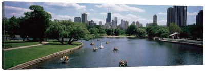 High angle view of a group of people on a paddle boat in a lake, Lincoln Park, Chicago, Illinois, USA Canvas Print #PIM4814