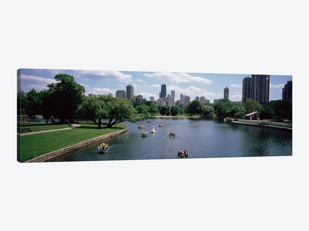 High angle view of a group of people on a paddle boat in a lake, Lincoln Park, Chicago, Illinois, USA by Panoramic Images 1-piece Canvas Art