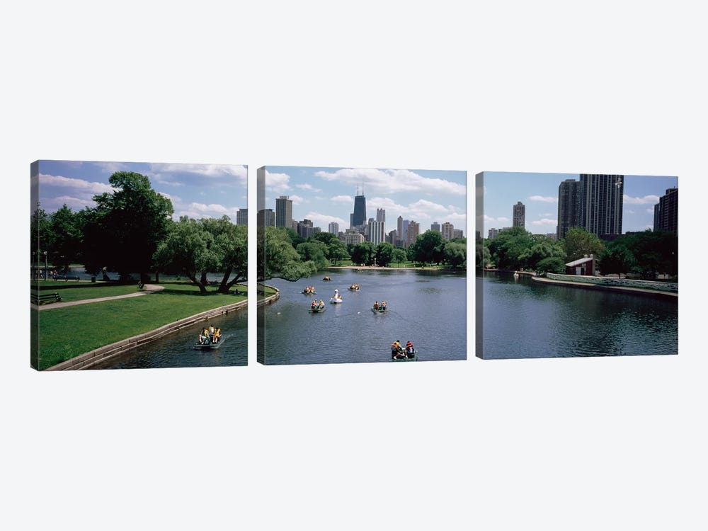 High angle view of a group of people on a paddle boat in a lake, Lincoln Park, Chicago, Illinois, USA by Panoramic Images 3-piece Canvas Artwork