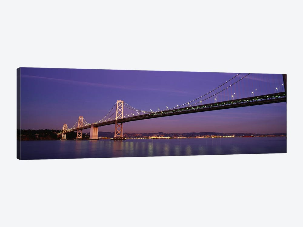Low angle view of a bridge at dusk, Oakland Bay Bridge, San Francisco, California, USA by Panoramic Images 1-piece Canvas Wall Art