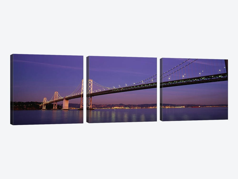 Low angle view of a bridge at dusk, Oakland Bay Bridge, San Francisco, California, USA by Panoramic Images 3-piece Canvas Wall Art