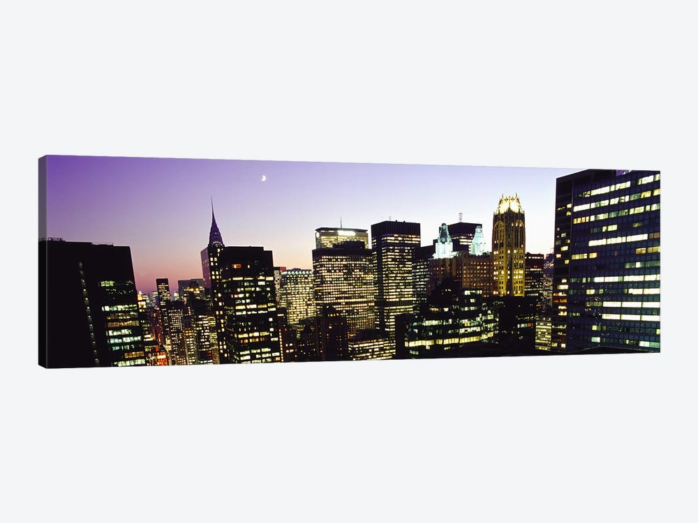 Buildings lit up at dusk, Manhattan, New York City, New York State, USA by Panoramic Images 1-piece Art Print