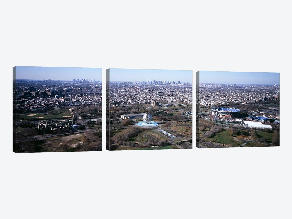 Aerial View Of World's Fair Globe, From Queens Looking Towards Manhattan, NYC, New York City, New York State, USA by Panoramic Images 3-piece Canvas Artwork