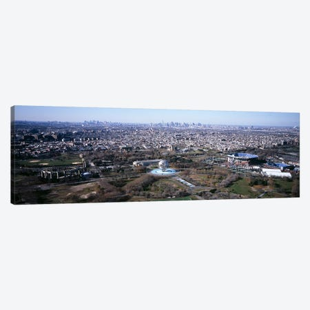 Aerial View Of World's Fair Globe, From Queens Looking Towards Manhattan, NYC, New York City, New York State, USA Canvas Print #PIM4827} by Panoramic Images Canvas Artwork