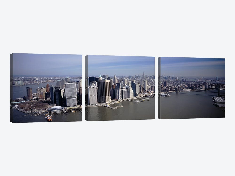 High Angle View Of Skyscrapers In A City, Manhattan, NYC, New York City, New York State, USA by Panoramic Images 3-piece Canvas Print