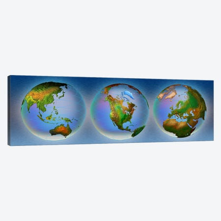 Close-up of three globes Canvas Print #PIM4833} by Panoramic Images Canvas Artwork