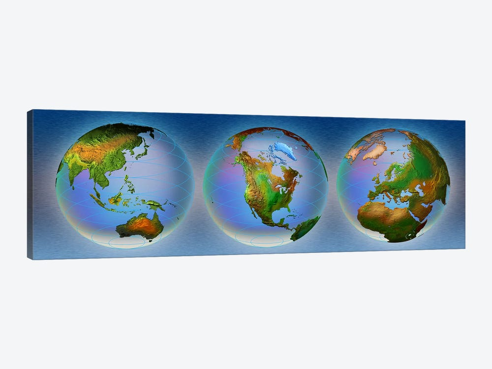 Close-up of three globes by Panoramic Images 1-piece Canvas Print