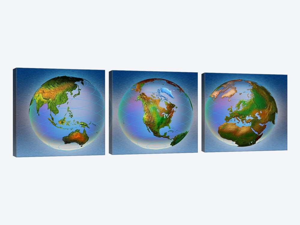 Close-up of three globes by Panoramic Images 3-piece Art Print