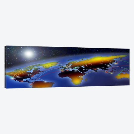Flight plan marked on a globe Canvas Print #PIM4835} by Panoramic Images Art Print