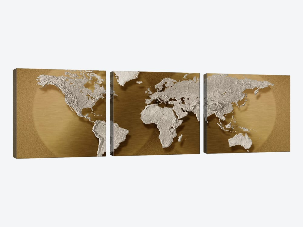 Close-up of a world map by Panoramic Images 3-piece Canvas Wall Art