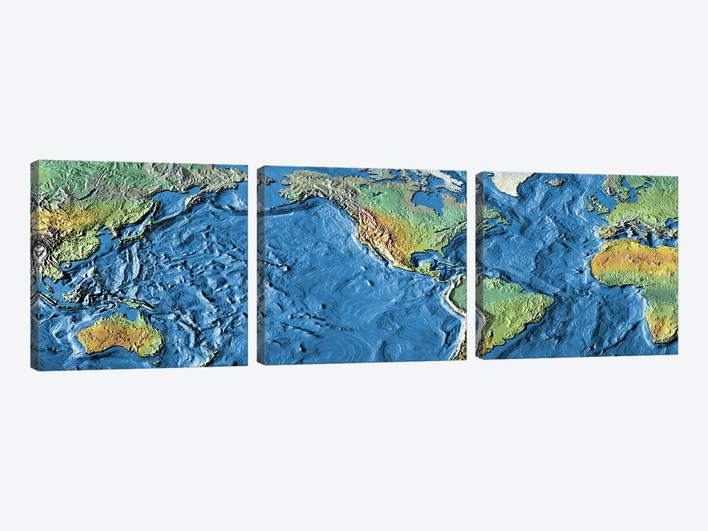 Close-up of a world map by Panoramic Images 3-piece Canvas Art
