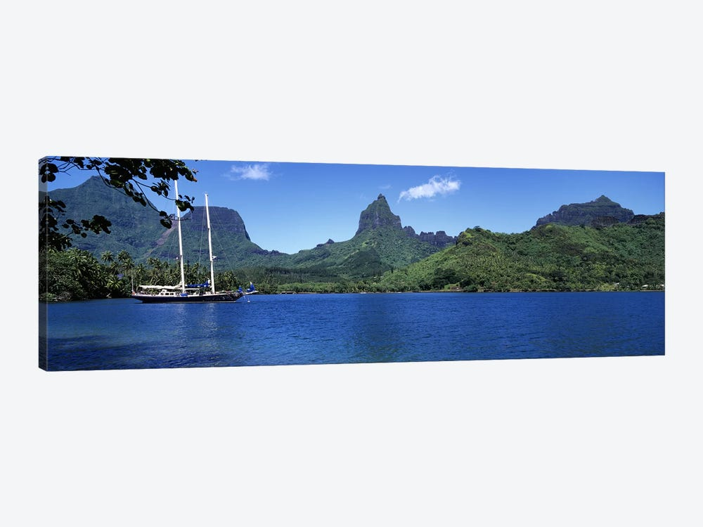 A Lone Sailboat, Opunohu Bay, Mo'orea, Windward Islands, Society Islands, French Polynesia by Panoramic Images 1-piece Art Print