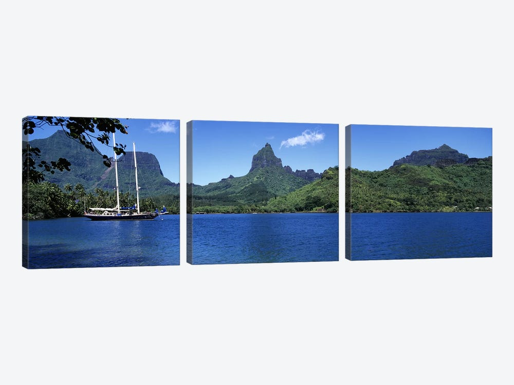 A Lone Sailboat, Opunohu Bay, Mo'orea, Windward Islands, Society Islands, French Polynesia by Panoramic Images 3-piece Canvas Print
