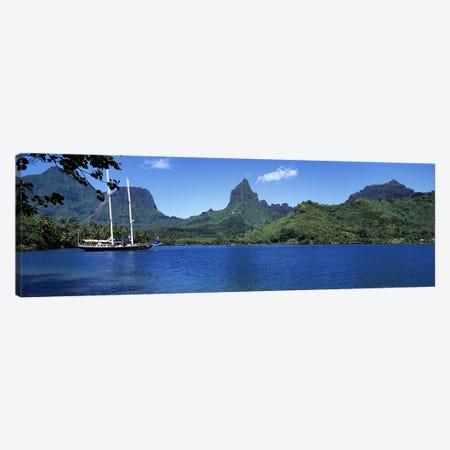 A Lone Sailboat, Opunohu Bay, Mo'orea, Windward Islands, Society Islands, French Polynesia Canvas Print #PIM4840} by Panoramic Images Canvas Print