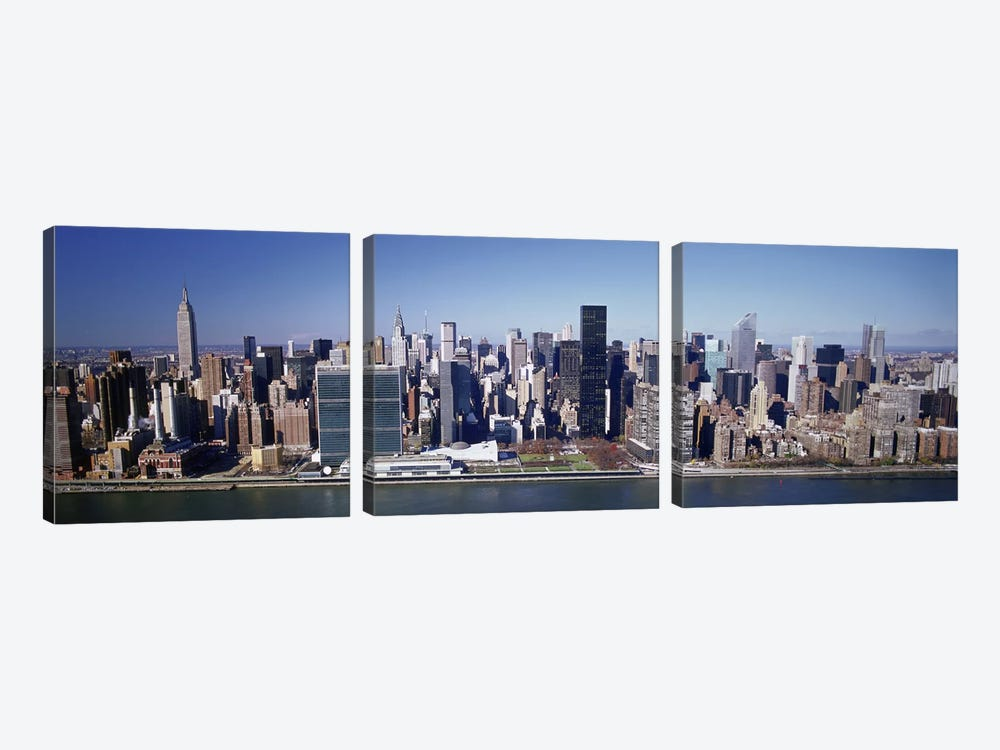 Buildings on the waterfront, Manhattan, New York City, New York State, USA by Panoramic Images 3-piece Canvas Art