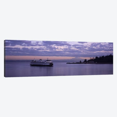 Ferry in the seaBainbridge Island, Seattle, Washington State, USA Canvas Print #PIM4851} by Panoramic Images Canvas Artwork