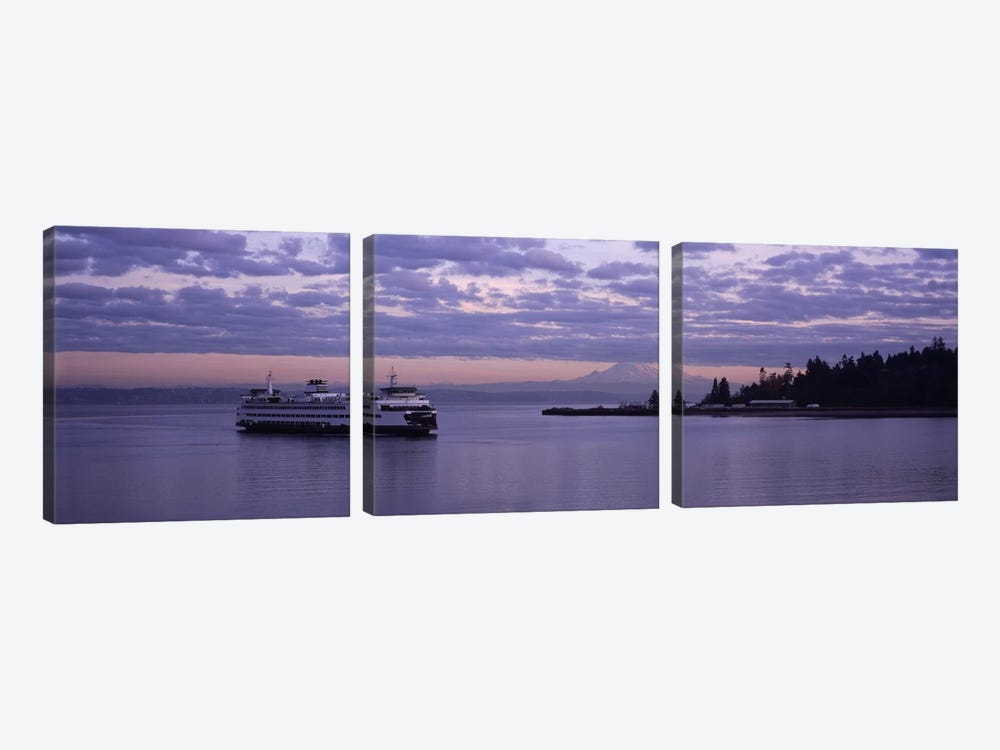 Ferry in the seaBainbridge Island, Seattle, Washington State, USA by Panoramic Images 3-piece Canvas Art Print