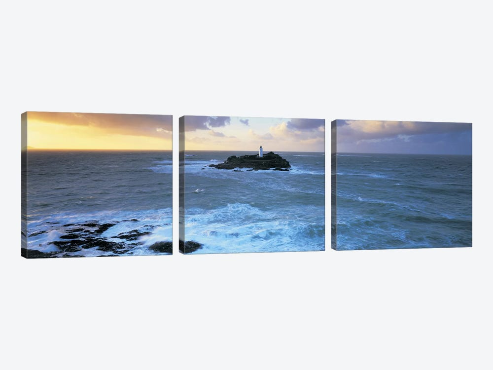 Godrevy Lighthouse, Godrevy Island, St Ives Bay, Cornwall, England, United Kingdom by Panoramic Images 3-piece Art Print