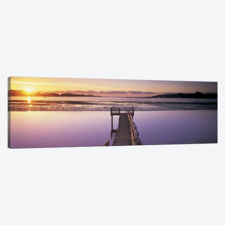 High angle view of a pier on a river, Pounawea, The Catlins, South Island New Zealand, New Zealand Canvas Print #PIM4858} by Panoramic Images Canvas Wall Art