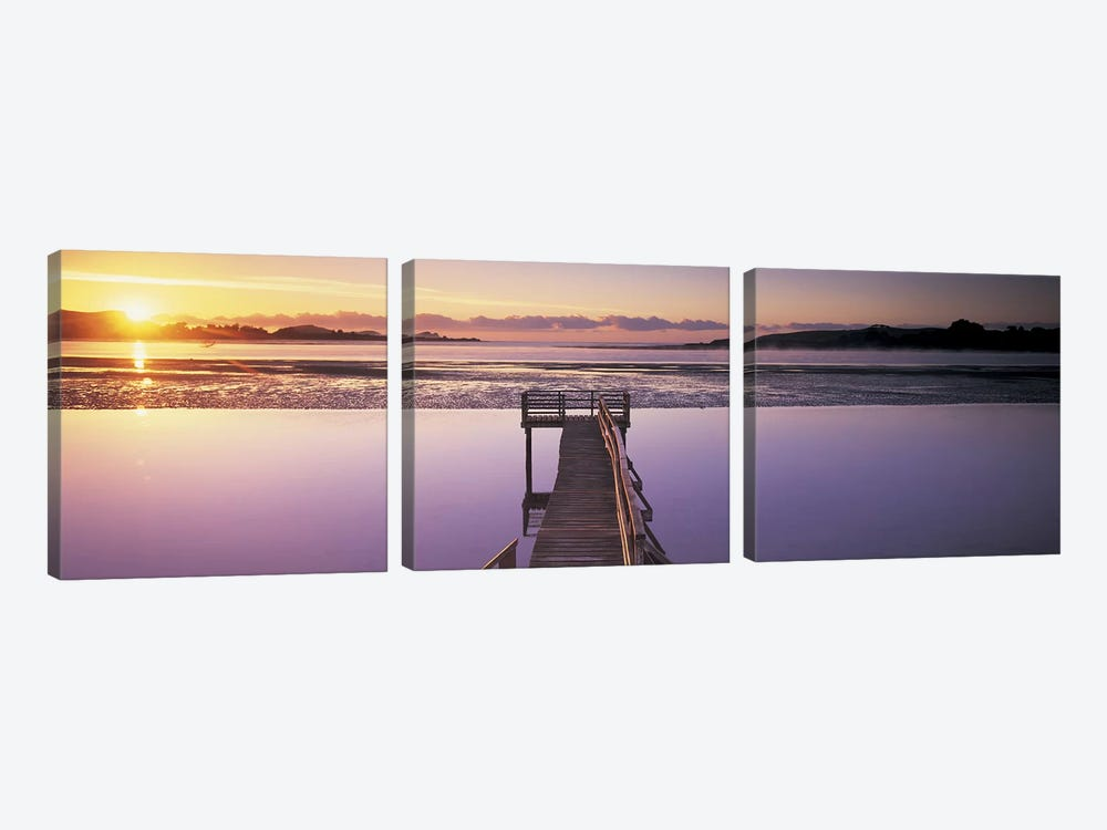 High angle view of a pier on a river, Pounawea, The Catlins, South Island New Zealand, New Zealand by Panoramic Images 3-piece Canvas Artwork