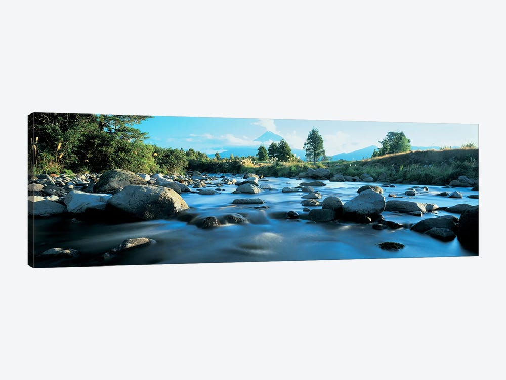 Rocks in the river, Mount Taranaki, Taranaki, North Island, New Zealand 1-piece Canvas Art Print