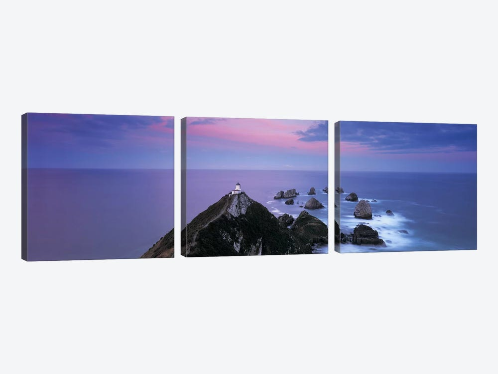 Nugget Point Lighthouse, Nugget Point, The Catlins, Otago, South Island, New Zealand by Panoramic Images 3-piece Canvas Wall Art