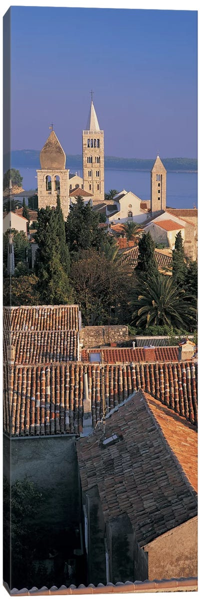 High angle view of a town, Rab Island, Croatia Canvas Art Print