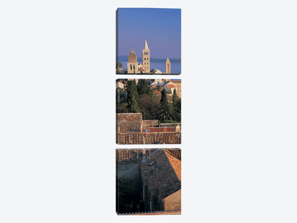 High angle view of a town, Rab Island, Croatia 3-piece Art Print