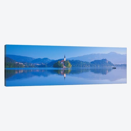 Foothill Landscape Featuring Pilgrimage Church Of The Assumption Of Mary (Our Lady Of The Lake), Bled, Slovenia Canvas Print #PIM4866} by Panoramic Images Canvas Wall Art