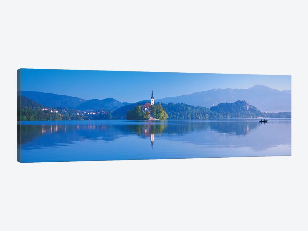 Foothill Landscape Featuring Pilgrimage Church Of The Assumption Of Mary (Our Lady Of The Lake), Bled, Slovenia by Panoramic Images 1-piece Canvas Art Print