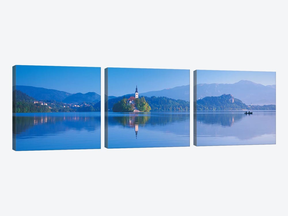 Foothill Landscape Featuring Pilgrimage Church Of The Assumption Of Mary (Our Lady Of The Lake), Bled, Slovenia by Panoramic Images 3-piece Canvas Print
