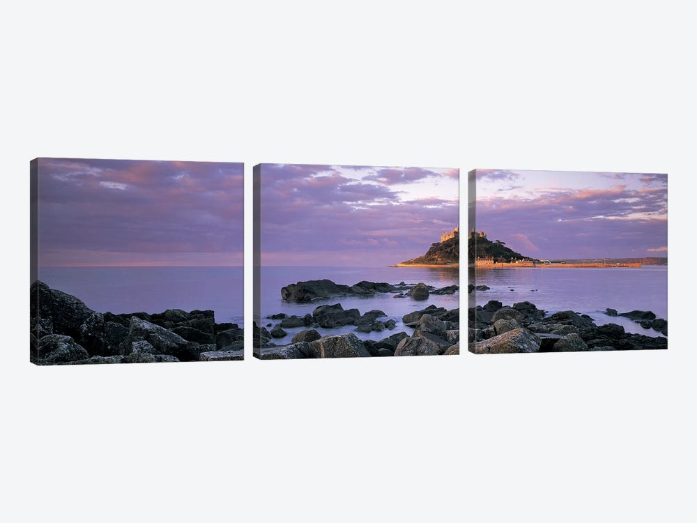 Distant View Of St Michael's Mount, Mount's Bay, Cornwall, England, United Kingdom by Panoramic Images 3-piece Canvas Wall Art