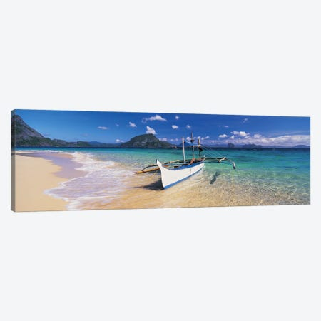 Fishing boat moored on the beach, Palawan, Philippines Canvas Print #PIM4874} by Panoramic Images Art Print