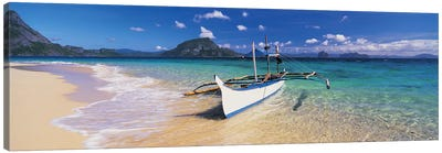 Fishing boat moored on the beach, Palawan, Philippines Canvas Art Print