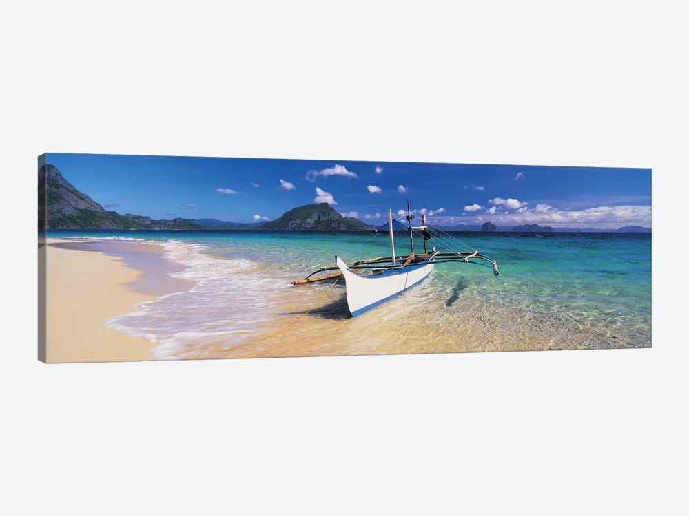 Fishing boat moored on the beach, Palawan, Philippines by Panoramic Images 1-piece Canvas Artwork
